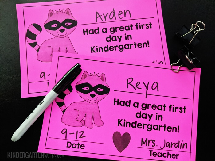 First Day of Kindergarten Certificates for The Kissing Hand
