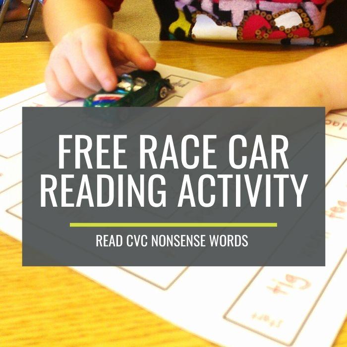 Free Nonsense Words Race Car Reading Activity