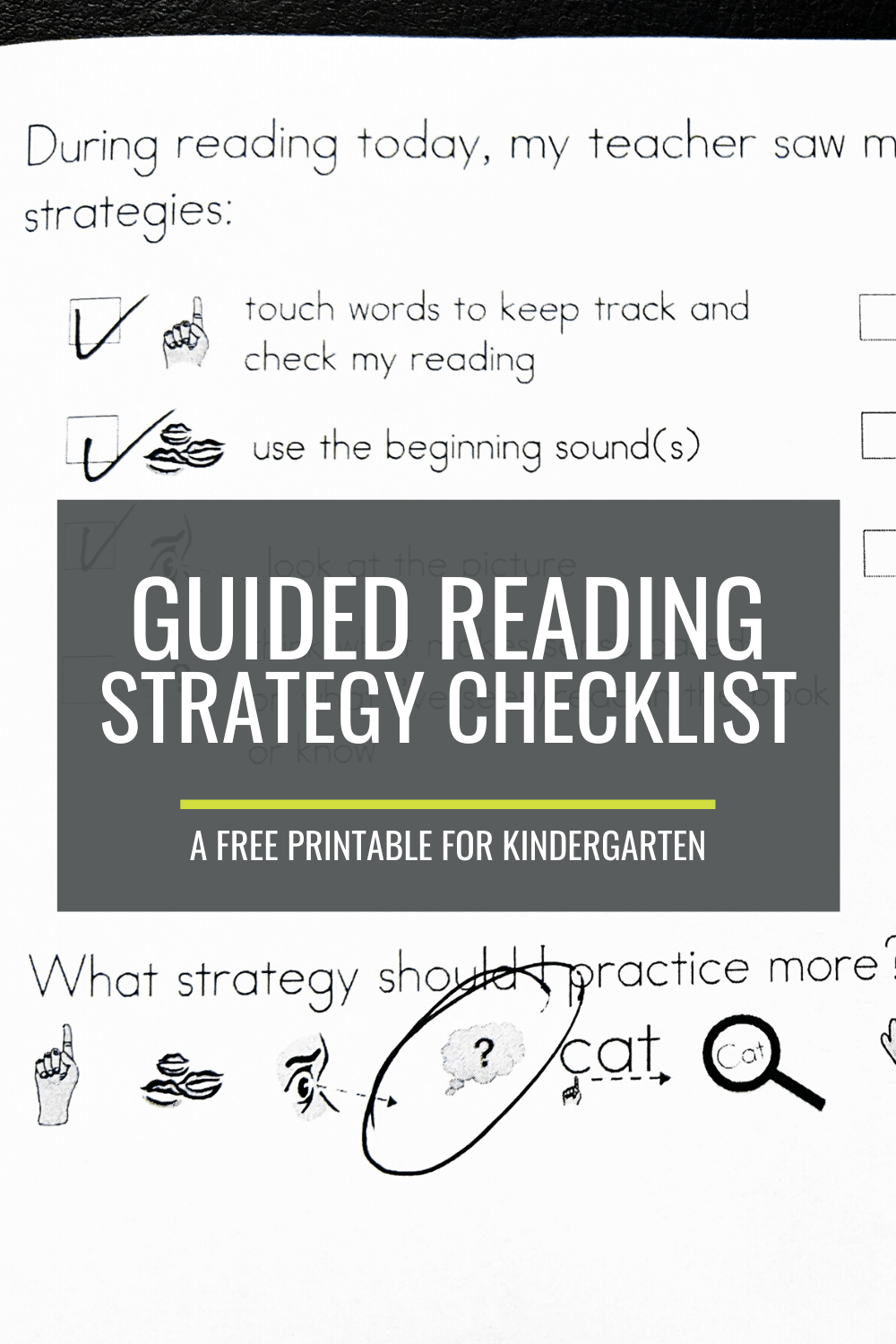 Free Guided Reading Strategy Checklist for Kindergarten