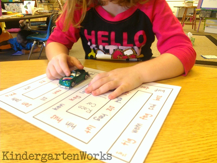 Nonsense Words Race Car Reading Activity for Kindergarten