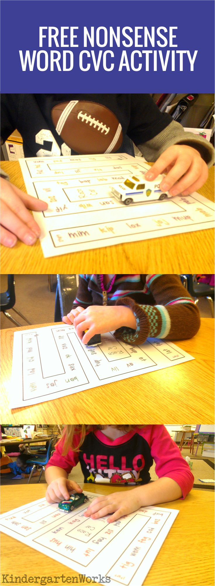 Nonsense Words Race Car Reading Activity - free download for kindergarten