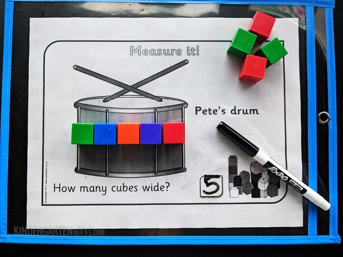 Titch read-aloud based measuring activity sheets for kindergarten