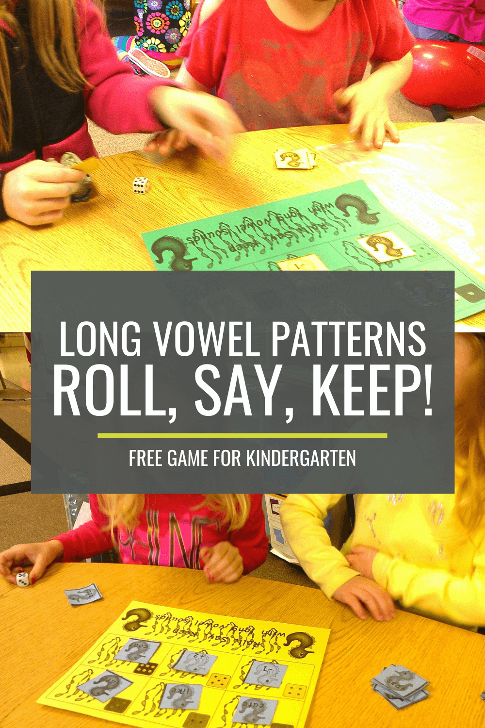 Free Long Vowel Patterns Roll, Say, Keep! Game