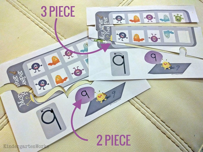 How to teach numbers in kindergarten - easy puzzles for a center