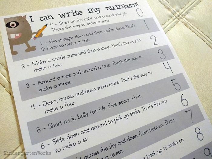 Teaching numbers 1-10 in kindergarten - how to form numerals handwriting chants