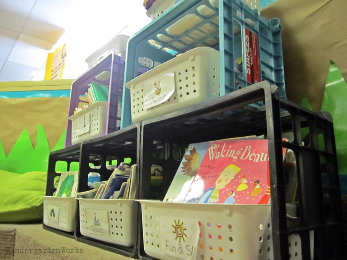 How to Easily Change Out Library Center Books - zip tie crates together for shelving