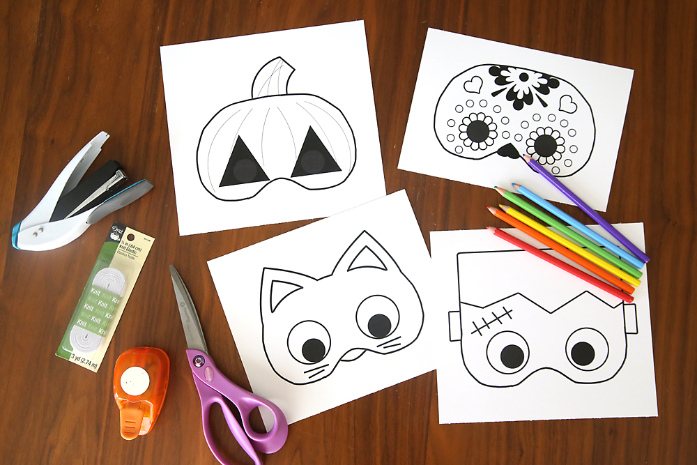 7+ Easy Halloween Activities for Kindergarten - Printable Halloween Mask kids easy cheap class party activity