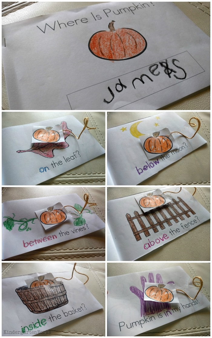7+ Easy Halloween Activities for Kindergarten - Pumpkin Position Word Emergent Reader for Halloween and Fall