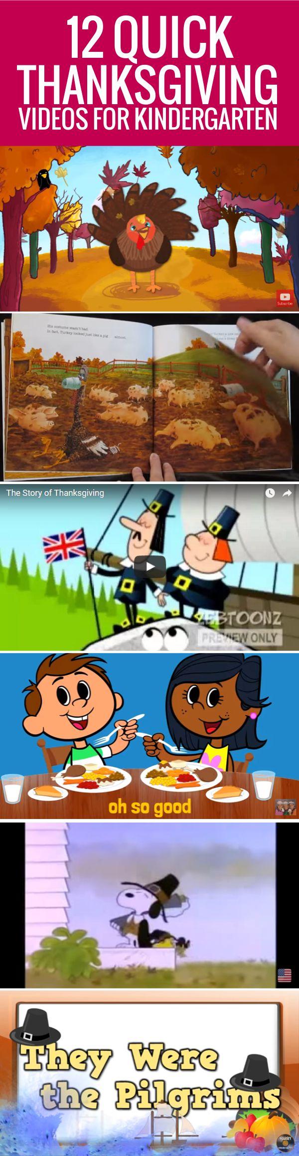 Quick Thanksgiving Videos for Kindergarten