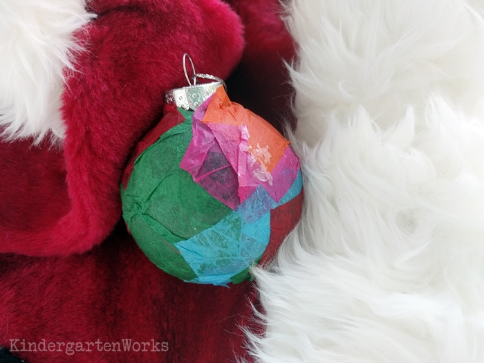 Christmas Gifts Kindergarteners Can Make - Tissue Paper Bulb Ornament