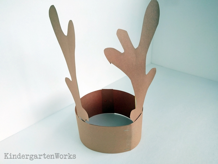 Free Reindeer Headband Antlers Template for Christmas - Kindergarten Craft