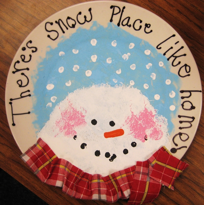 Kindergarten Christmas Gifts to Give to Parents - Snowman plate