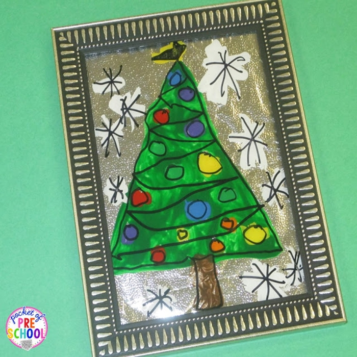 Kindergarten Christmas Gifts to Give to Parents - Stained Glass Christmas Tree