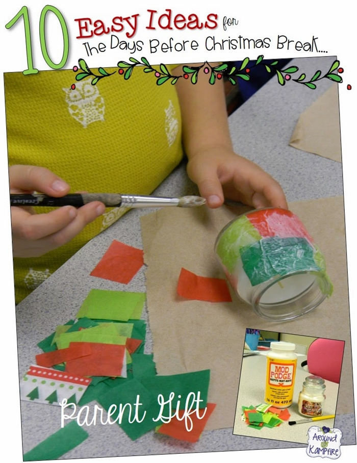 kindergarten christmas gifts to give to parents tissue paper votive candle