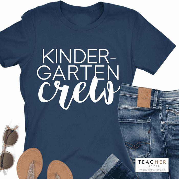 Kindergarten Crew CUTE grade level teacher shirt design