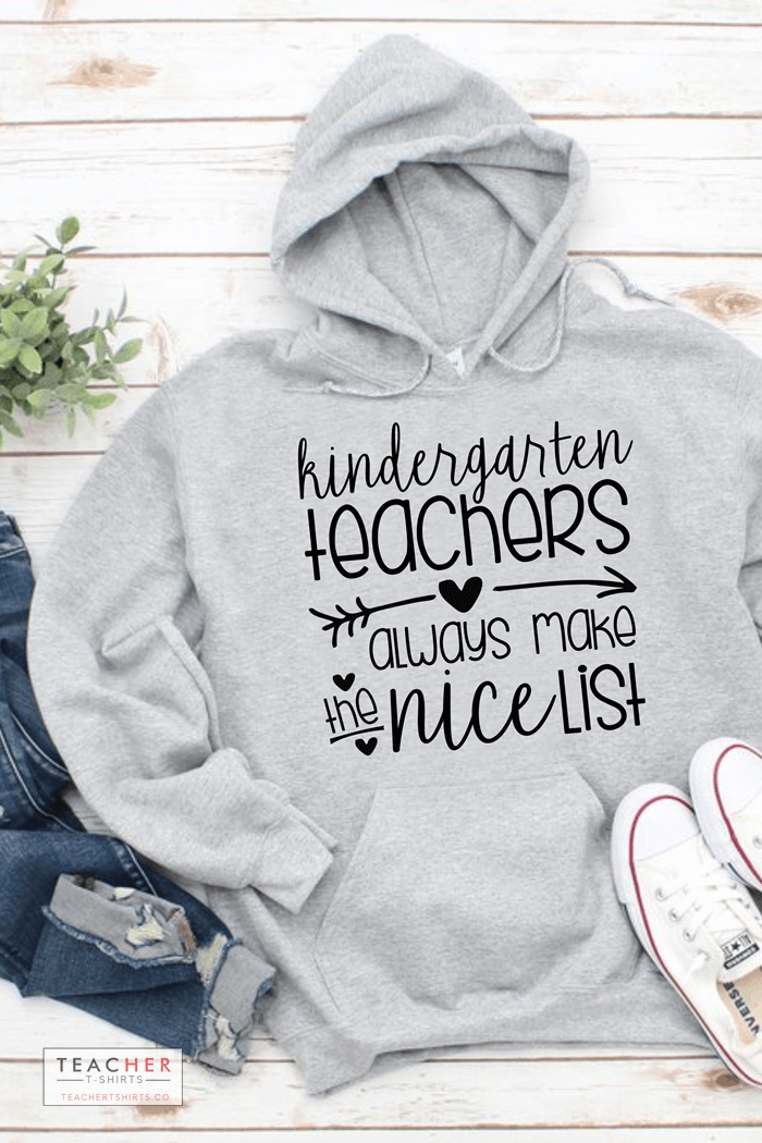 Kindergarten teachers always make the nice list funny christmas teacher tshirt