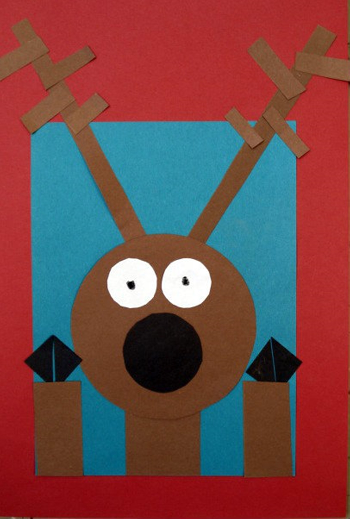 Activities for teaching 2D shapes - cute reindeer at the window craft