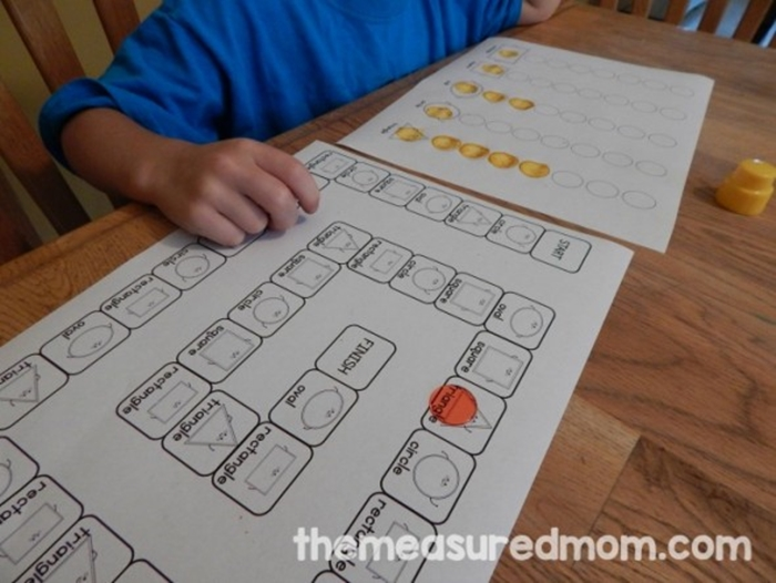 Activities for teaching 2D shapes - game boards