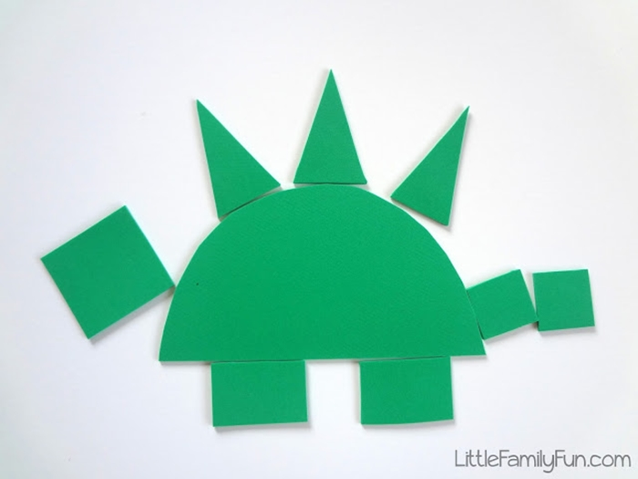 Activities for teaching 2D shapes - making dinosaurs with foam shapes