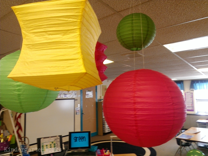 Easy classroom decor with hanging lanterns
