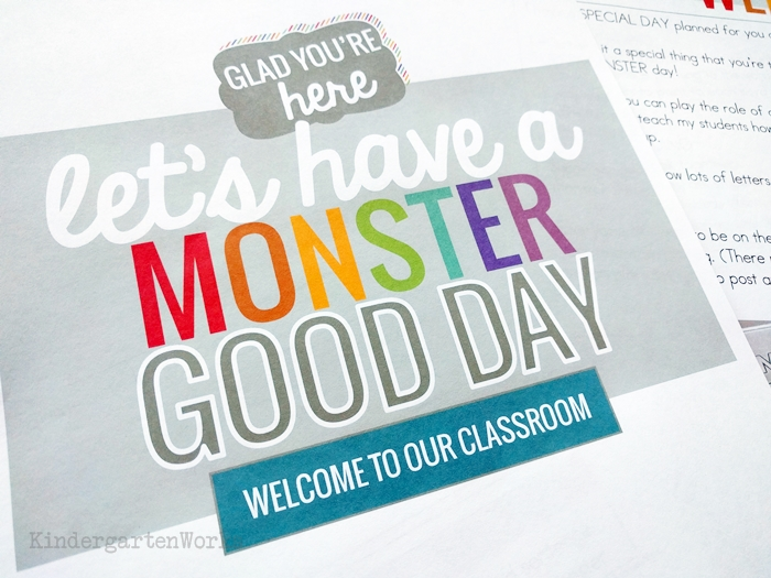 FREE emergency sub plans for kindergarten - monster themed day