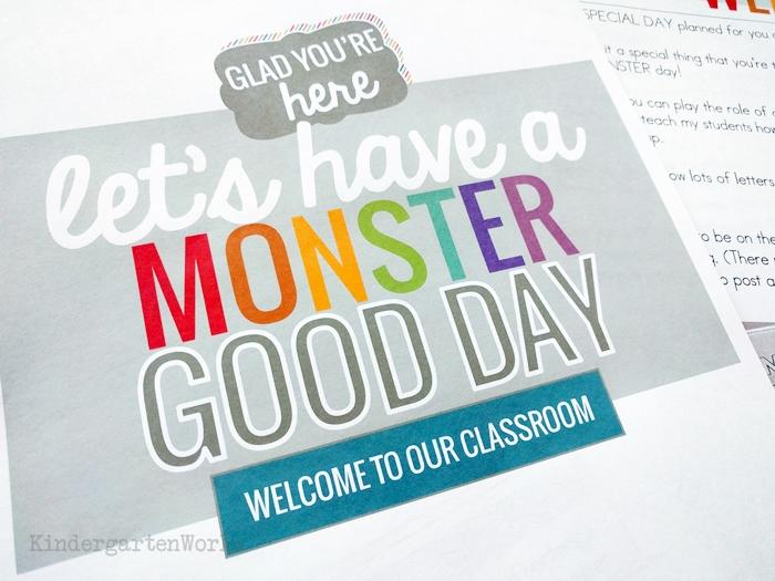 FREE emergency sub plans for kindergarten - monster themed day