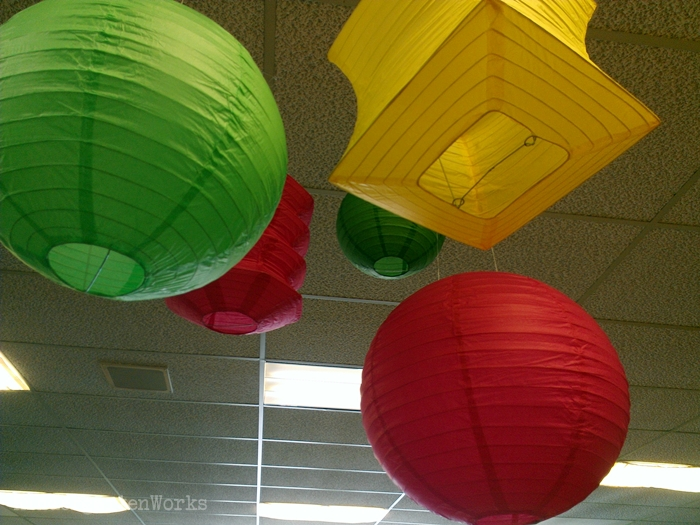 Hanging lanterns in the classroom - this creates a cute pop of color