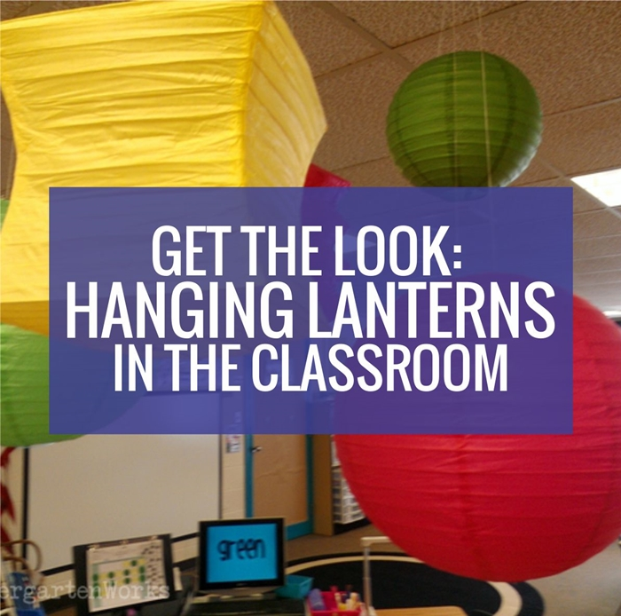 Hanging lanterns in the kindergarten classroom