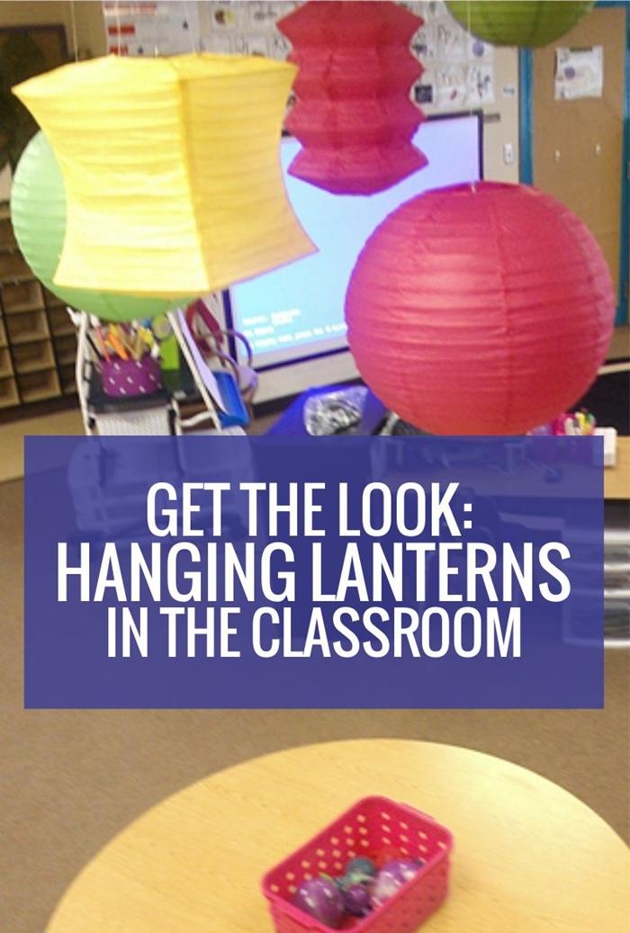 Hanging lanterns inside the classroom