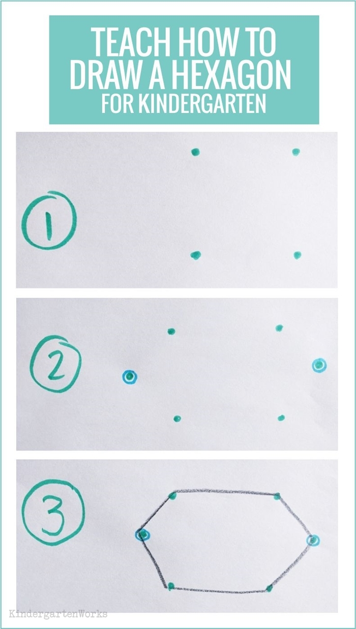 Teaching 2D shapes in kindergarten - draw a hexagon