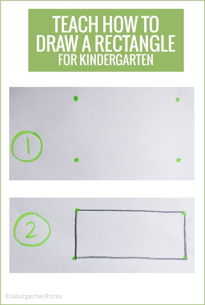 Teaching 2D shapes in kindergarten - draw a rectangle