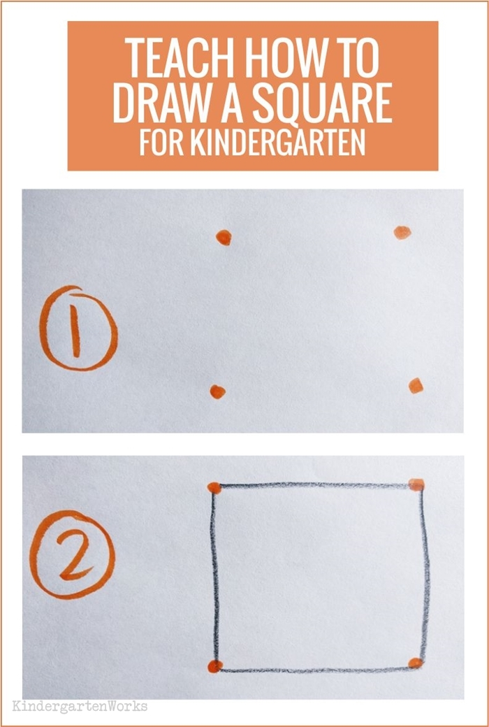 Teaching 2D shapes in kindergarten - draw a square