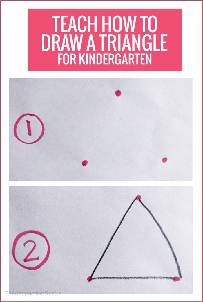 Teaching 2D shapes in kindergarten - draw a triangle