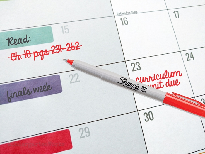 Ways to use teacher planning calendar - college coursework