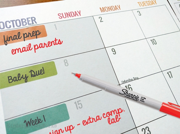 Ways to use teacher planning calendar - planning for a maternity sub