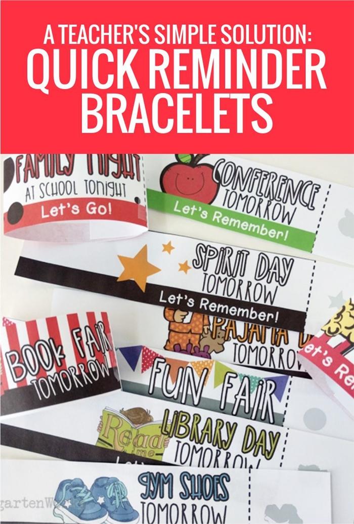 A Teacher's Simple Solution - love these quick Reminder Bracelets