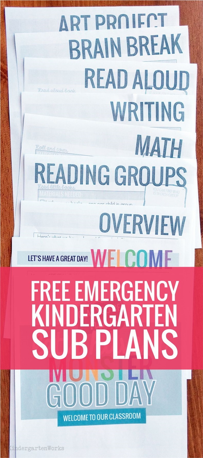 Free Emergency Sub Plans for Kindergarten