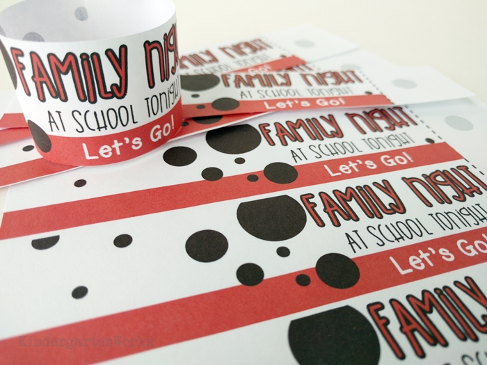 Family night at school - reminder bracelet for kids and parents