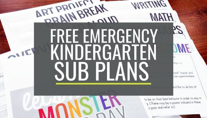 Free Emergency Kindergarten Sub Plans