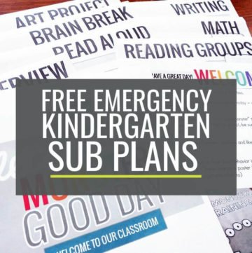 Free Emergency Sub Plans for Kindergarten
