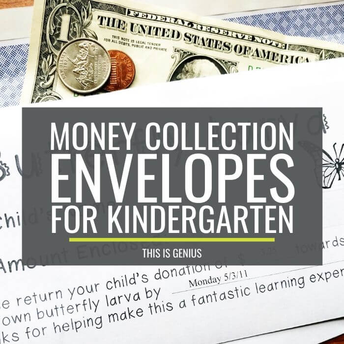 Money Collection Envelopes for Kindergarten - This is Genius