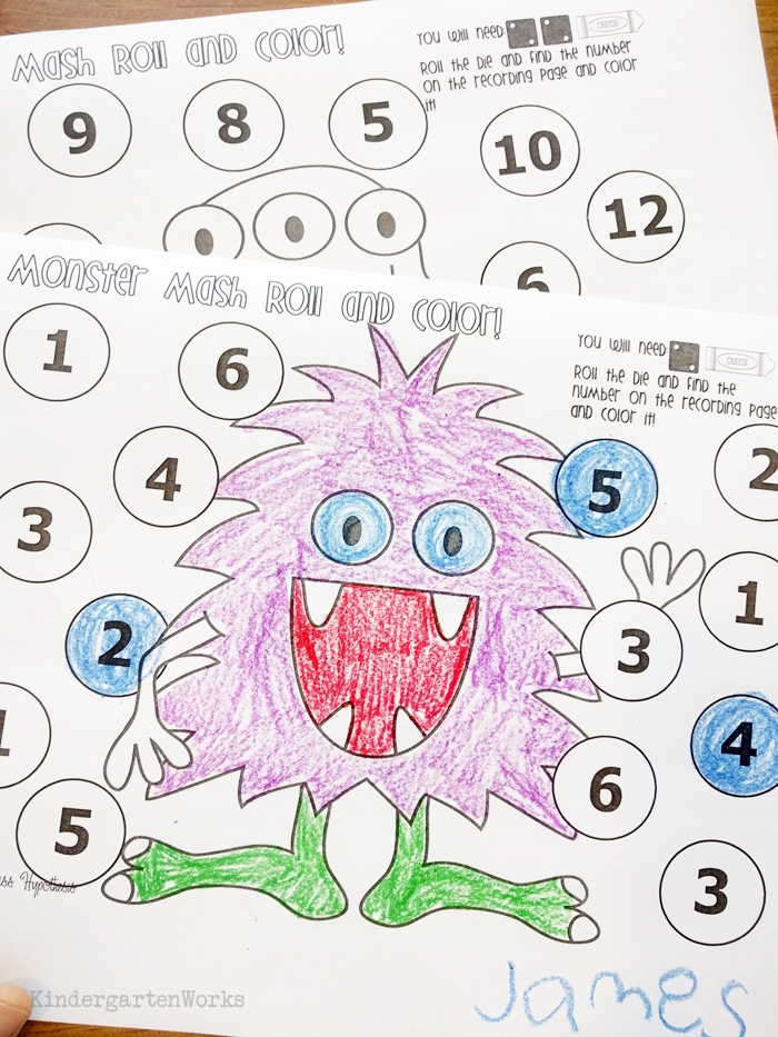 Monster themed day with a substitute in kindergarten - monster roll and color math