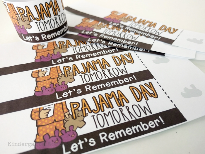 Quick Reminder Bracelets to send home reminders for pajama day