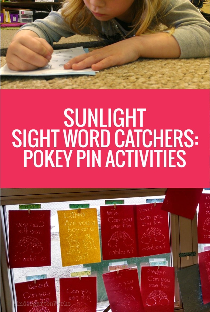 Kindergarten Sight Word Sunlight Catchers - Pokey Pin Activities