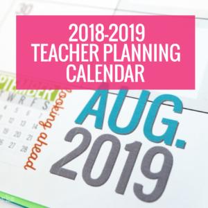 2018-2019 Planning Calendar Template