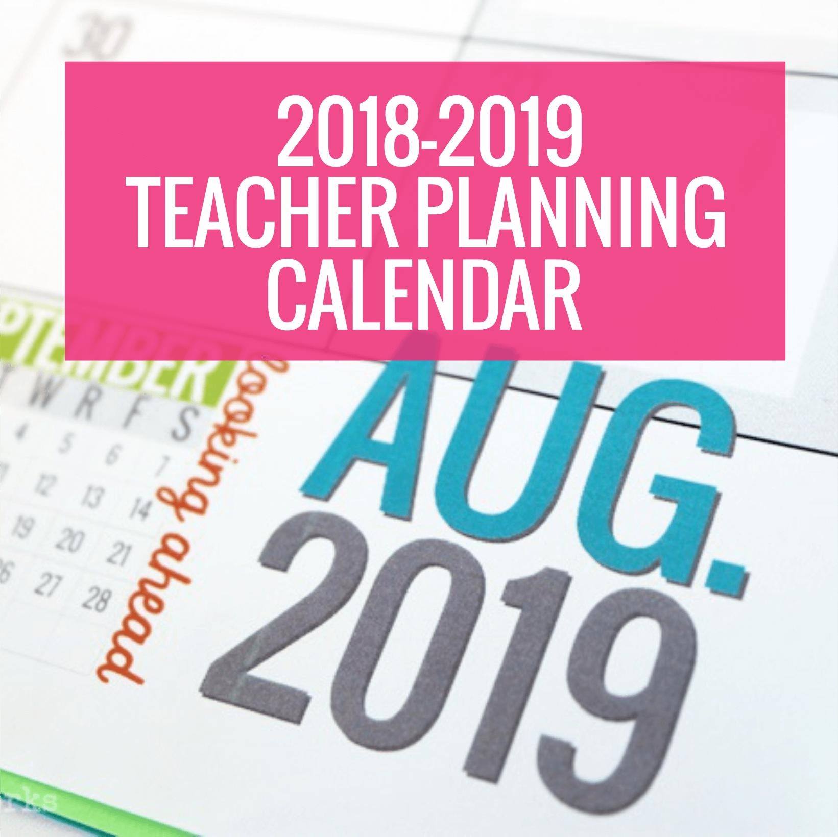 Printable 2018 2019 Calendar Template Kindergartenworks