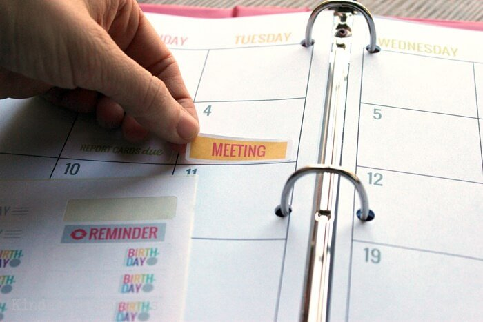 Add special reminders to your printable teacher planning calendar