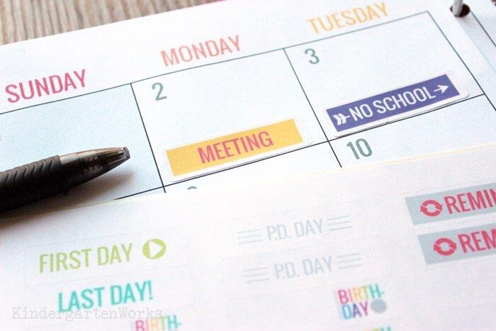 Editable Teacher Planning Calendar with stickers - Erin Condren planner alternative