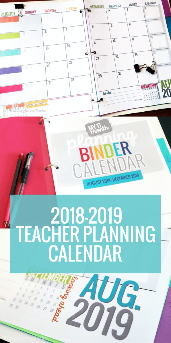 Printable 2018 2019 calendar template kindergartenworks for Pacing calendar template for teachers