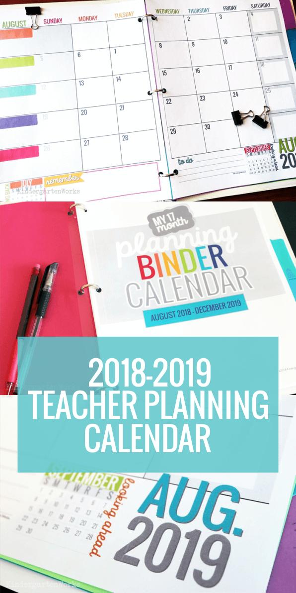 I LOVE this Teacher Planning Calendar Template 2018-2019 School Year
